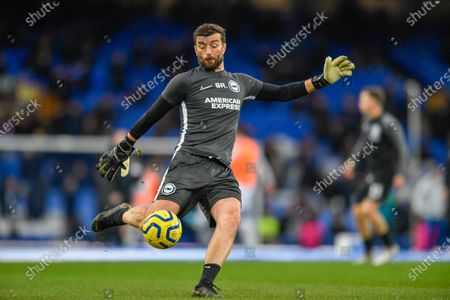 Stock Photo of 11th January 2020, Goodison Park, Liverpool, England; Premier League, Everton v Brighton and Hove Albion : Brighton and Hove Albion Goalkeeping Coach, Ben Roberts, leading the warm up sessionCredit: Simon Whitehead/News Images
