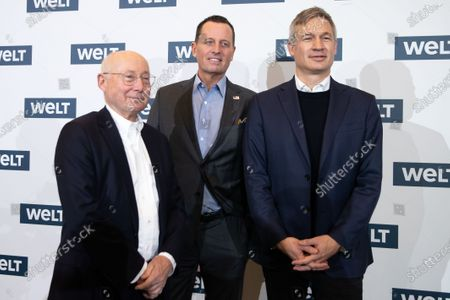 (L-R) Former Editor-in-chief of the Welt Group Stefan Aust, US Ambassador to Germany Richard Allen Grenell and Editor-in-chief of the Welt Group Ulf Poschardt pose prior to the 12th Welt economic summit at the headquarters of the Axel Springer SE in Berlin, Germany, 08 January 2020. About 60 business personalities and politicians discuss about future economic policy challenges.
