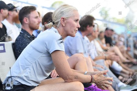Samantha Stosur's coach Rennae Stubbs looks on during the match between Samantha Stosur of Australia and Madison Keys of USA during day 3 of the Brisbane International tennis tournament at the Queensland Tennis Centre in Brisbane, 08 January 2020.