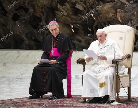 Pope Francis (R), sitting next to Archbishop Georg Gaenswein, leads the Wednesday General Audience in the Nervi Hall at the Vatican, 08 January 2020.