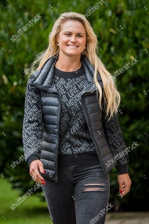 Stock Image of Carly Booth poses for a portrait at the Miller & Carter Grill in Wilmslow, Cheshire