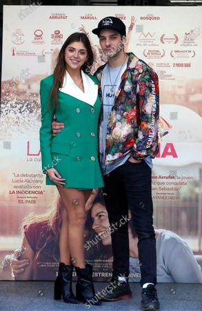 Stock Photo of Spanish cast members of the movie 'La inocencia. La culpa no existe' (lit. The innocence. Guilt doesn't exist), Carmen Arrufat and Joel Bosqued, smile during the photocall in Madrid, Spain, 08 January 2020. The film will premiered at Spanish cinemas next 10 January.