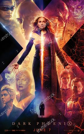 X-Men: Dark Phoenix (2019) Poster Art. Tye Sheridan as Scott Summers/Cyclops, James McAvoy as Professor Charles Xavier, Sophie Turner as Jean Grey/Phoenix, Michael Fassbender as Erik Lehnsherr/Magnet, Nicholas Hoult as Hank McCoy/Beast, Kodi Smit-McPhee as Kurt Wagner/Nightcrawler, Jennifer Lawrence as Raven/Mystique and Alexandra Shipp as Ororo Munroe/Storm