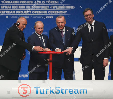 Recep Tayyip Erdogan, Vladimir Putin. Turkey's President Recep Tayyip Erdogan, 2nd right and Russia's President Vladimir Putin, 2nd left, along with Serbia's President Aleksandar Vucic, right and Bulgarias's Prime Minister Boyko Borisov, left, symbolically open a valve during a ceremony in Istanbul for the inauguration of the TurkStream pipeline, . The dual natural gas line connecting the countries will open up a new export path for Russian gas into Turkey and Europe, through new and existing lines