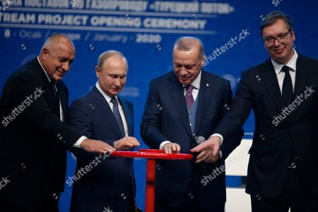 Recep Tayyip Erdogan, Vladimir Putin. Turkey's President Recep Tayyip Erdogan, 2nd right and Russia's President Vladimir Putin, 2nd left, along with Serbia's President Aleksandar Vucic, right and Bulgaria's Prime Minister Boyko Borisov left, symbolically open a valve during a ceremony in Istanbul for the inauguration of the TurkStream pipeline, . The dual natural gas line connecting the countries will open up a new export path for Russian gas into Turkey and Europe, through new and existing lines