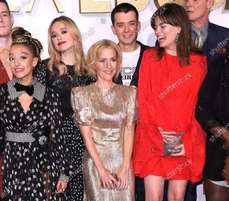 Aimee Lou Wood, Gillian Anderson, Asa Butterfield and Emma Mackey