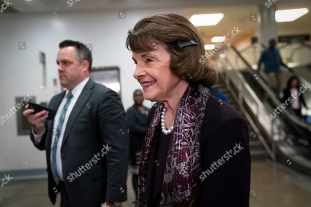 Sen. Dianne Feinstein, D-Calif., the ranking member of the Senate Judiciary Committee, heads to a briefing by Secretary of State Mike Pompeo, Defense Secretary Mark Esper, and other national security officials on the details of the threat that prompted the U.S. to kill Iranian Gen. Qassem Soleimani in Iraq, on Capitol Hill in Washington
