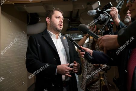 Rep. Ruben Gallego, a member of the House Armed Services Committee, responds to questions at the Capitol in Washington, the morning following an Iranian missile attack on U.S. bases inside Iraq,. Gallego served as a Marine on one of the bases targeted Tuesday, Al-Asad Airbase