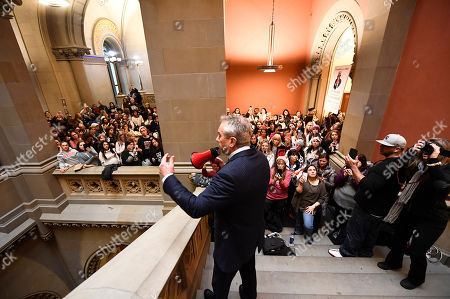 Stock Image of Attorney Robert F. Kennedy, Jr., speaks against proposed Democratic bills that would add new doses of vaccines to attend school, during a protest rally on behalf of New York state families against the vaccination of children at the Capitol, in Albany, N.Y