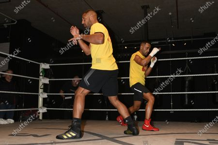 Stock Photo of Kell Brook (L) and Kid Galahad during a Media Workout at 12x3 Gym on 8th January 2020