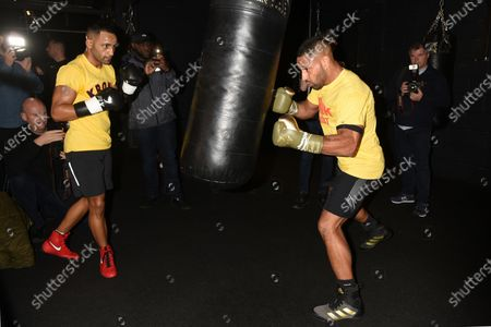 Stock Image of Kell Brook (R) and Kid Galahad during a Media Workout at 12x3 Gym on 8th January 2020