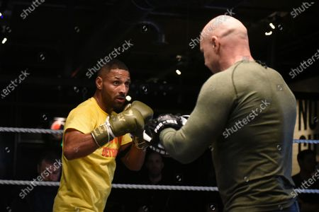 Kell Brook with trainer Dominic Ingle during a Media Workout at 12x3 Gym on 8th January 2020