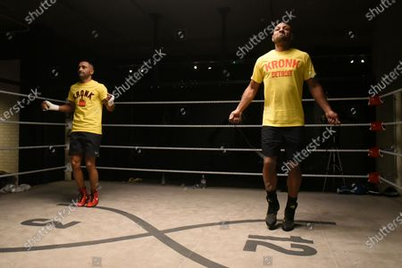 Kell Brook (R) and Kid Galahad during a Media Workout at 12x3 Gym on 8th January 2020