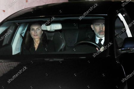 Spanish King Felipe VI (R) and Queen Letizia arrive at Pilar de Borbon's funeral chapel in Madrid, Spain, 08 January 2020. Infanta Pilar of Spain, Duchess of Badajoz, the sister of Spanish Emeritus King Juan Carlos, passed away at the age of 83 on 08 January 2020, after several days in hospital.