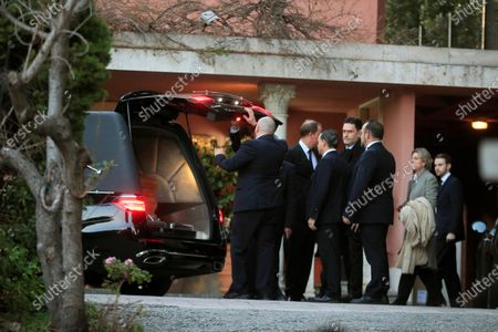 Bruno Gomez Acebo (2-L) and his sister Simoneta Gomez Acebo (2-R) next to the coffin of their late mother, Pilar de Borbon, at her funeral chapel in Madrid, Spain, 08 January 2020. Infanta Pilar of Spain, Duchess of Badajoz, the sister of Spanish Emeritus King Juan Carlos, passed away at the age of 83 on 08 January 2020, after several days in hospital.