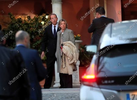 Bruno Gomez Acebo (L) and his sister Simoneta Gomez Acebo (C) arrive at the funeral chapel for their mother, Pilar de Borbon, in Madrid, Spain, 08 January 2020. Infanta Pilar of Spain, Duchess of Badajoz, the sister of Spanish Emeritus King Juan Carlos, passed away at the age of 83 on 08 January 2020, after several days in hospital.