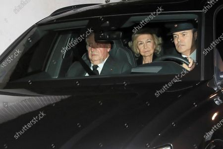 Spanish Emeritus King Juan Carlos I (L) and Emeritus Queen Sofia (C) arrive at Pilar de Borbon's funeral chapel in Madrid, Spain, 08 January 2020. Infanta Pilar of Spain, Duchess of Badajoz, the sister of Spanish Emeritus King Juan Carlos, passed away at the age of 83 on 08 January 2020, after several days in hospital.