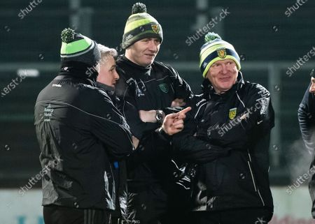 Derry vs Donegal. Donegal manager Declan Bonner with Stephen Rochford and the backroom team