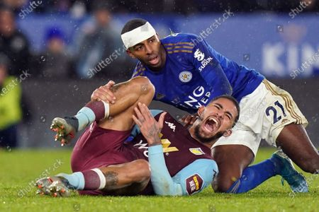 Ricardo Pereira (R) of Leicester City and Douglas Luiz of Aston Villa during the Carabao Cup semi final 1st leg match between Leicester City and Aston Villa in Leicester, Britain, 08 January 2020.