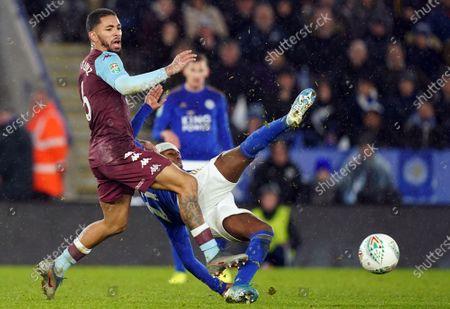 Ricardo Pereira (R) of Leicester City in action against Douglas Luiz of Aston Villa during the Carabao Cup semi final 1st leg match between Leicester City and Aston Villa in Leicester, Britain, 08 January 2020.