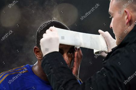 Ricardo Pereira of Leicester City gets a wound over his eyebrow taped during the Carabao Cup semi final 1st leg match between Leicester City and Aston Villa in Leicester, Britain, 08 January 2020.
