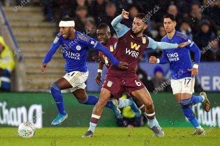 Ricardo Pereira (L) of Leicester City in action against Douglas Luiz of Aston Villa during the Carabao Cup semi final 1st leg match between Leicester City and Aston Villa in Leicester, Britain, 08 January 2020.