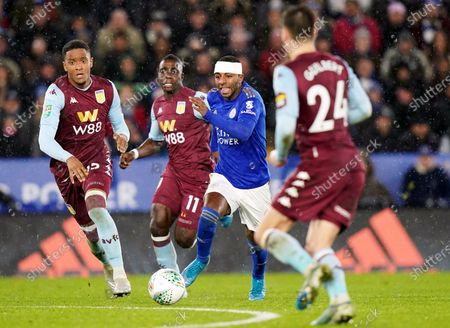 Ricardo Pereira (C) of Leicester City in action during the Carabao Cup semi final 1st leg match between Leicester City and Aston Villa in Leicester, Britain, 08 January 2020.