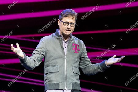 T-Mobile US President and COO Mike Sievert delivers a speech during the Quibi (short for Quick Bites) press conference at the 2020 International Consumer Electronics Show in Las Vegas, Nevada, USA, 08 January 2020. Mike Sievert would succeed John Legere as T-Mobile CEO on May 1st 2020. Quibi is a new mobile platform to deliver short video contents from news to tv-shows especially made for the new platform. The annual CES which takes place from 7-10 January is a place where industry manufacturers, advertisers and tech-minded consumers converge to get a taste of new innovations coming to the market each year.