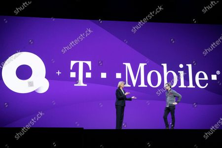 Quibi CEO Meg Whitman (L) and T-Mobile US President and COO Mike Sievert exchange on stage during the Quibi (short for Quick Bites) press conference at the 2020 International Consumer Electronics Show in Las Vegas, Nevada, USA, 08 January 2020. Mike Sievert would succeed John Legere as T-Mobile CEO on May 1st 2020. Quibi is a new mobile platform to deliver short video contents from news to tv-shows especially made for the new platform. The annual CES which takes place from 7-10 January is a place where industry manufacturers, advertisers and tech-minded consumers converge to get a taste of new innovations coming to the market each year.