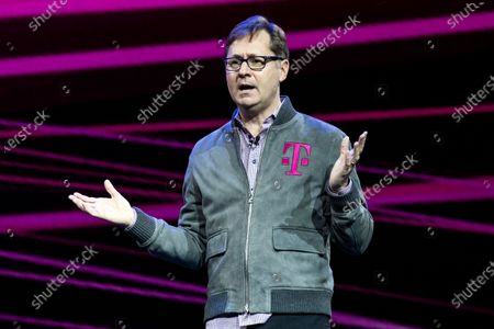 Stock Photo of T-Mobile US President and COO Mike Sievert delivers a speech during the Quibi (short for Quick Bites) press conference at the 2020 International Consumer Electronics Show in Las Vegas, Nevada, USA, 08 January 2020. Mike Sievert would succeed John Legere as T-Mobile CEO on May 1st 2020. Quibi is a new mobile platform to deliver short video contents from news to tv-shows especially made for the new platform. The annual CES which takes place from 7-10 January is a place where industry manufacturers, advertisers and tech-minded consumers converge to get a taste of new innovations coming to the market each year.