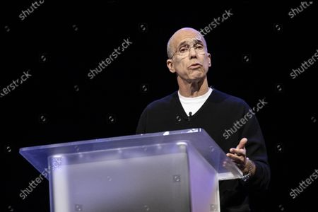 Quibi Founder Jeffrey Katzenberg delivers a speech during the Quibi (short for Quick Bites) press conference at the 2020 International Consumer Electronics Show in Las Vegas, Nevada, USA, 08 January 2020. Quibi is a new mobile platform to deliver short video contents from news to tv-shows especially made for the new platform. The annual CES which takes place from 7-10 January is a place where industry manufacturers, advertisers and tech-minded consumers converge to get a taste of new innovations coming to the market each year.