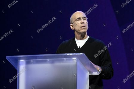Stock Photo of Quibi Founder Jeffrey Katzenberg delivers a speech during the Quibi (short for Quick Bites) press conference at the 2020 International Consumer Electronics Show in Las Vegas, Nevada, USA, 08 January 2020. Quibi is a new mobile platform to deliver short video contents from news to tv-shows especially made for the new platform. The annual CES which takes place from 7-10 January is a place where industry manufacturers, advertisers and tech-minded consumers converge to get a taste of new innovations coming to the market each year.