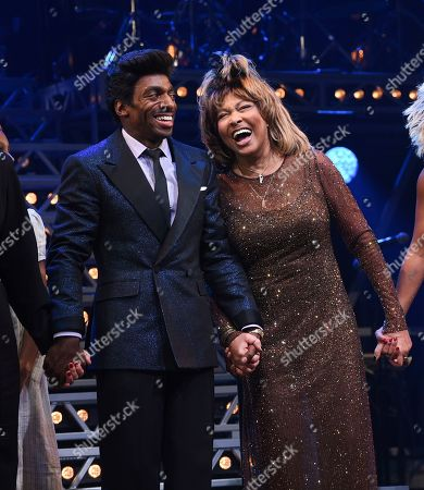"Daniel J. Watts, Tina Turner. Singer Tina Turner, right, takes a bow during the curtain call with actors Daniel J. Watts on the opening night of ""Tina ñ The Tina Turner Musical"" at the Lunt-Fontanne Theatre, in New York"