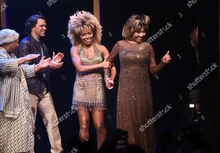 """Adrienne Warren, Tina Turner. Singer Tina Turner, right, walks on stage with actress Adrienne Warren on the opening night of """"Tina ñ The Tina Turner Musical"""" at the Lunt-Fontanne Theatre, in New York"""