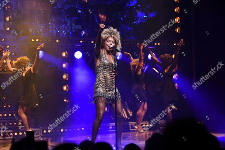 """Adrienne Warren performs during the opening night of """"Tina ñ The Tina Turner Musical"""" at the Lunt-Fontanne Theatre, in New York"""