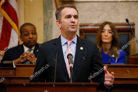 Ralph Northam, Eileen Filler-Corn, Justin Fairfax. Virginia Gov. Ralph Northam, center, gestures as he delivers his State of the Commonwealth address as House Speaker Eileen Filler-Corn, D-Fairfax, right, and Lt. Gov. Justin Fairfax, left, listen before a joint session of the Virginia Assembly at thestate Capitol in Richmond, Va