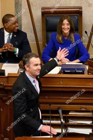 Ralph Northam, Eileen Filler-Corn, Justin Fairfax. Virginia Gov. Ralph Northam, bottom left, recognizes House Speaker Eileen Filler-Corn, D-Fairfax, right, as he prepares to deliver his State of the Commonwealth address as Lt. Gov. Justin Fairfax, top left, applauds before a joint session of the Assembly at the state Capitol in Richmond, Va