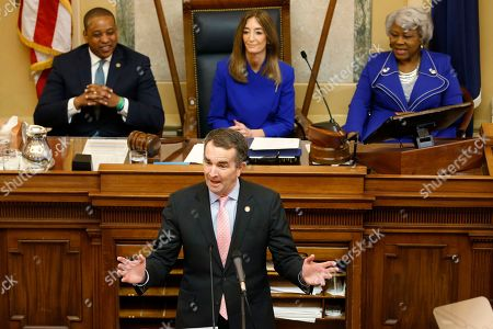 Ralph Northam, Eileen Filler-Corn, Justin Fairfax, Louise Lucas. Virginia Gov. Ralph Northam, bottom, delivers his State of the Commonwealth address as House Speaker Eileen Filler-Corn, D-Farifax, top center, Lt. Gov. Justin Fairfax, top left, and Senate President Pro Tempore Louise Lucas, D-Portsmouth, right, listen during a joint session of the Virginia Assembly at the Virginia state Capitol in Richmond, Va