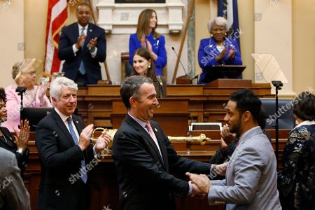Ralph Northam, Suhas Subramanyam. Virginia Gov. Ralph Northam, center, shakes the hand of Del. Suhas Subramanyam, D-Loudoun, while leaving the chamber after delivering his State of the Commonwealth address before a joint session of the Assembly at the state Capitol in Richmond, Va