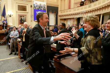 Ralph Northam, Janet Howell. Virginia Gov. Ralph Northam, left, goes to hug State Sen. Janet Howell, D-Arlington, as he leaves the chambers after delivering his State of the Commonwealth address before a joint session of the Virginia Assembly at the Virginia state Capitol in Richmond, Va