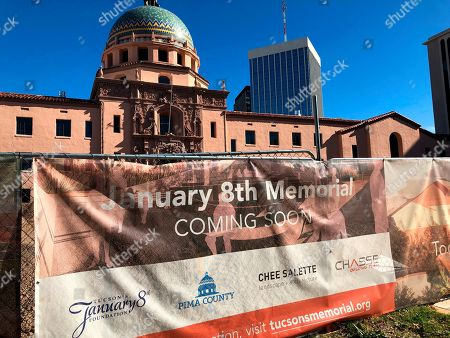 The construction site for a memorial honoring victims of a mass shooting is shown, in Tucson, Ariz. The shooting, which left former U.S. congresswoman Gabby Giffords severely injured, took place nine years ago. Construction is expected to be done in late summer or fall