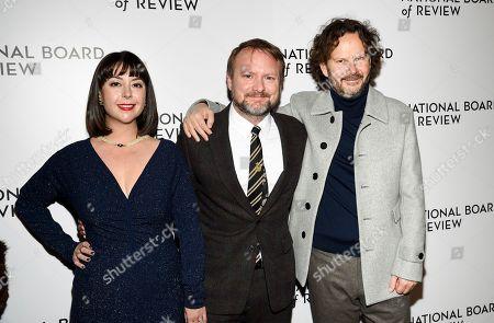 Karina Longworth, Rian Johnson, Ram Bergman. Filmmaker Rian Johnson, right, Karina Longworth and producer Ram Bergman attend the National Board of Review Awards gala at Cipriani 42nd Street, in New York