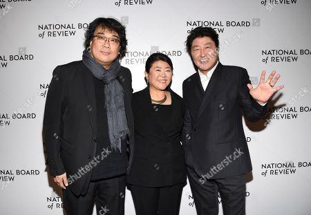 Bong Joon-Ho, Lee Jung Eun, Song Kang Ho. Director Bong Joon-Ho, left, actress Lee Jung Eun and actor Song Kang Ho attend the National Board of Review Awards gala at Cipriani 42nd Street, in New York