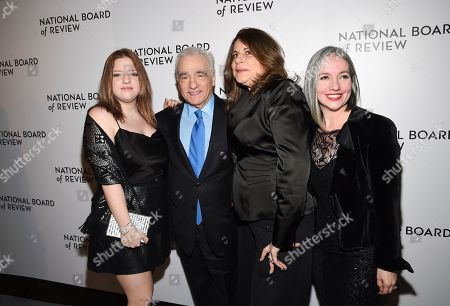 Stock Photo of Francesca Scorsese, Martin Scorsese, Cathy Scorsese, Domenica Cameron-Scorsese. Filmmaker Martin Scorsese poses with daughters Martin Scorsese, left, Cathy Scorsese and Domenica Cameron-Scorsese at the National Board of Review Awards gala at Cipriani 42nd Street, in New York