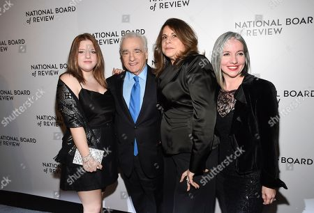 Francesca Scorsese, Martin Scorsese, Cathy Scorsese, Domenica Cameron-Scorsese. Filmmaker Martin Scorsese poses with daughters Martin Scorsese, left, Cathy Scorsese and Domenica Cameron-Scorsese at the National Board of Review Awards gala at Cipriani 42nd Street, in New York