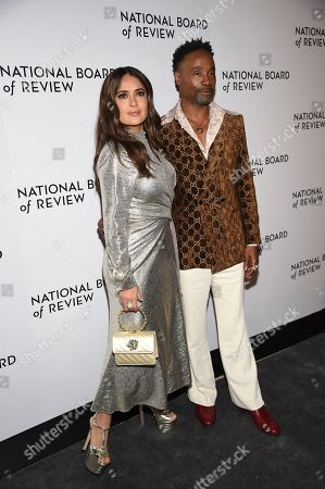 Salma Hayek Pinault, Billy Porter. Salma Hayek Pinault, left, and Billy Porter attend the National Board of Review Awards gala at Cipriani 42nd Street, in New York
