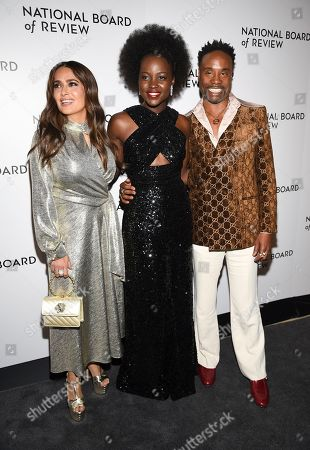 Salma Hayek Pinault, Lupita Nyong'o, Billy Porter. Salma Hayek Pinault, left, Lupita Nyong'o and Billy Porter attend the National Board of Review Awards gala at Cipriani 42nd Street, in New York