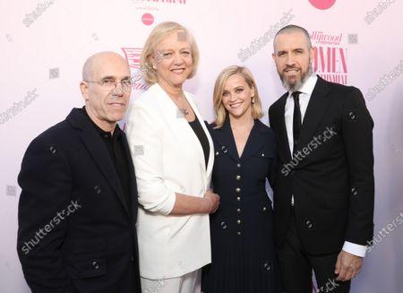 Jeffrey Katzenberg, Meg Whitman, Reese Witherspoon and Jim Toth