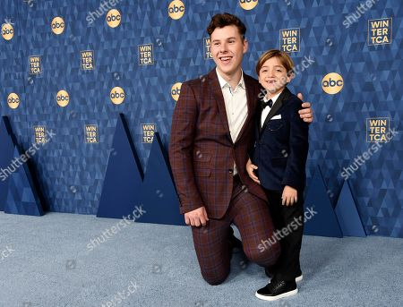 """Nolan Gould, Jeremy Maguire. Nolan Gould, left, and Jeremy Maguire, cast members in the ABC television series """"Modern Family,"""" pose together at the 2020 ABC Television Critics Association Winter Press Tour, in Pasadena, Calif"""