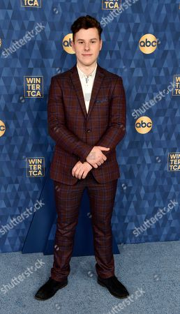 """Nolan Gould, a cast member in the ABC series """"Modern Family,"""" poses at the 2020 ABC Television Critics Association Winter Press Tour, in Pasadena, Calif"""